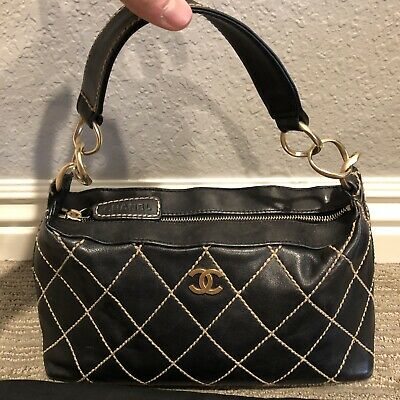 Authentic Chanel Leather Quilted Women's Handbag Black/Gold (Dustbag Included)