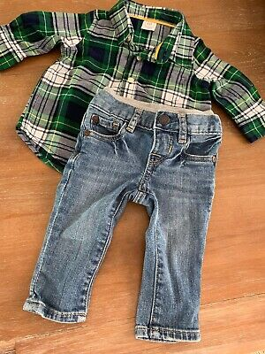 Baby Gap Boys Flannel Button Down And Jeans 3-6 Months