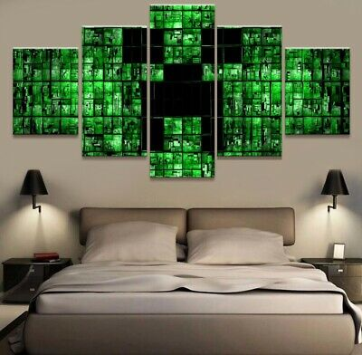 Home Decor Abstract Picture Minecraft Games Canvas Prints Painting Wall Art 5PCS