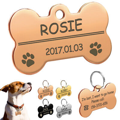 Bone Shaped Personalized Pet ID Tags Paw Print Collar Tags Dog Cat Name Engraved