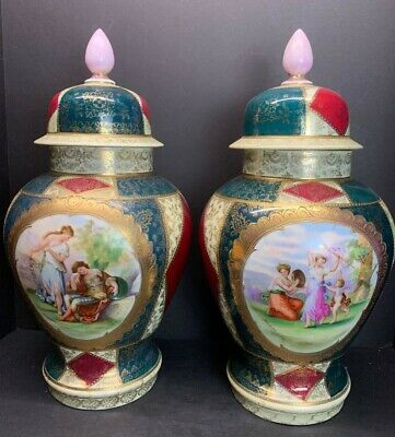 "Pair 19th C. Royal Vienna Lidded Urns Vase or Jars Large Porcelain 18"" IN Tall"