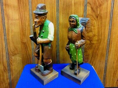 Old women & Man hand Carved & Painted Wood ~ Figurine Statue