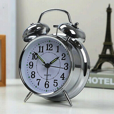 NEW Retro Loud Double Bell Mechanical Key Wound Alarm Clock UK