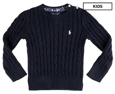 Polo Ralph Lauren Girls' Cable Knit Sweater - Hunter Navy JL330