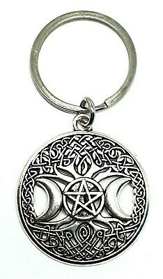 Witch's Triple Moon Phase Goddess Pentagram Keyring Witchcraft Pagan Wiccan