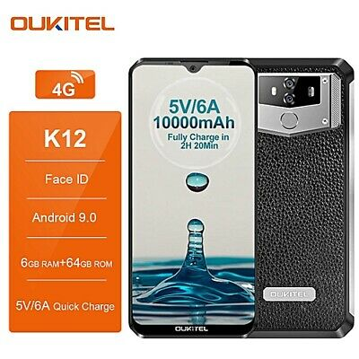 6.3'' OUKITEL K12 Rugged Smartphone Waterdrop 6GB 64GB Android 9.0 10000mAh NFC