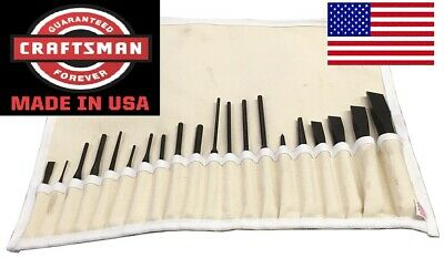 CRAFTSMAN USA Made 20 pc.PUNCH, CHISEL, ALIGNMENT SET w/USA Canvas Tool Roll