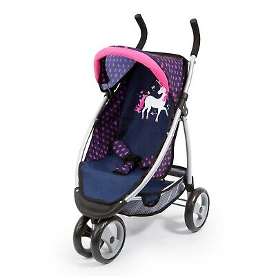 Bayer Jogger Doll Pram - Dark Blue with Pink Hearts and Unicorn