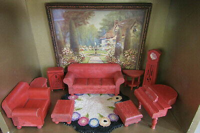 Antique 30s Dollhouse STROMBECKER RED LIVING ROOM FURNITURE Lot Set Sofa Chair