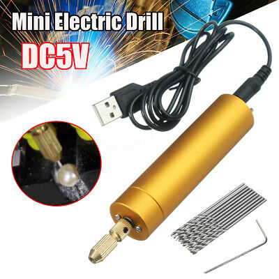 DC5V DIY Mini Micro Small Aluminum Electric Motor Hand Drill PCB 10x Twist Bits