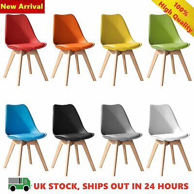 2 Set Tulip Dining Chair Eiffel Chair Solid Wood ABS Plastic Padded Office Seat