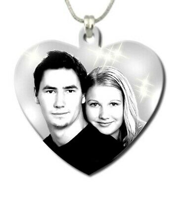 Personalised Photo Engraving Pendant Heart Shape (27mmx27mm) Stainless Steel
