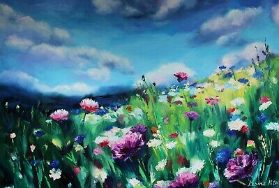 Turquoise landscape Flower field art Flowers oil painting on canvas Textured