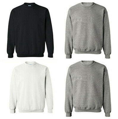 Mens Jumper Fleece Long Sleeve New Pullover Unisex Adult Crew Neck Plain Sweater