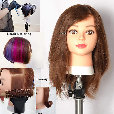 Hairdressing 100% Real Hair Training Head with clamp