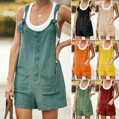 Women's Playsuit Cotton Summer Shorts Overalls Linen Dungarees Pocket Jumpsuit