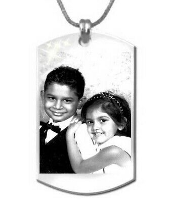 Personalised Photo Engraving Pendant Dog Tag Shape (22mmx35mm) Stainless Steel