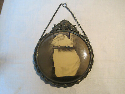 Antique Victorian celluloid mourning baby photo in decorative hanging frame