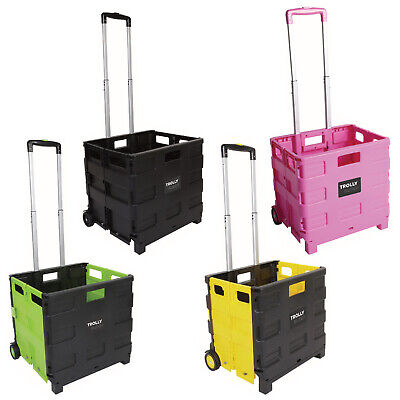 Folding Trolley 25kg Collapsible Shopping Boot Cart Storage Box Wheels Crate