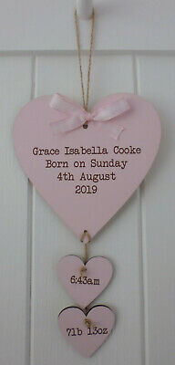 Personalised Engraved HEART NEW BORN BABY GIFT KEEPSAKE 3 COLOURS WALLHANGING