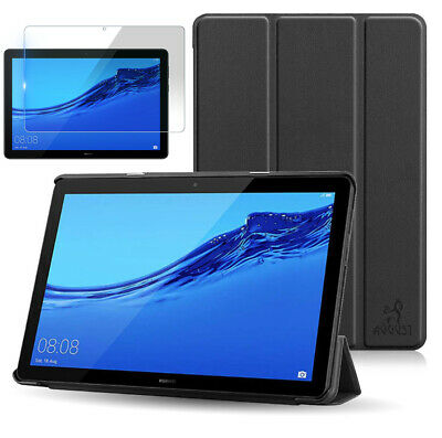 August® Leather Case Cover & Screen Protector for Huawei MediaPad T5 10 Inch