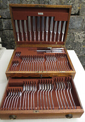 Complete Walker & Hall 69 Piece Silver Plated Art Deco Cutlery Set & Oak Canteen