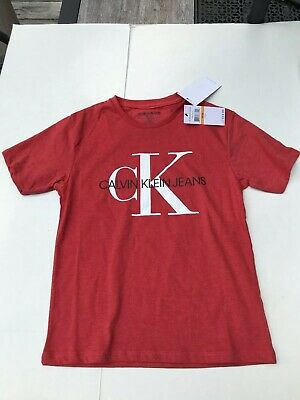 Calvin Klein T-Shirt Graphic Size Small Eight Cotton Poly Blend Red NWT Boys