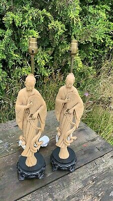 A Fantastic Vintage Pair of Chinese Oriental Men Table Lamp Lights *