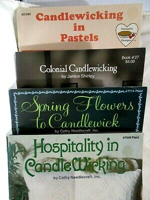 Lot of 4  Candlewicking Pattern Project Paperback Books Flowers Decor Colonial