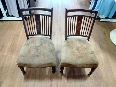 Pair Of Antique Brazilian Mahogany Victorian Nursing Chairs Home Collect PR2