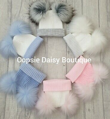Baby Girls & Boys Lovely Knitted Double Pom Pom Hats Newborn First Size ☆