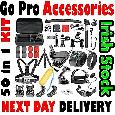 50in1 GoPro Set Kit Accessories For Head Chest Strap Go Pro Hero 1 2 3 + 4 5 6 7