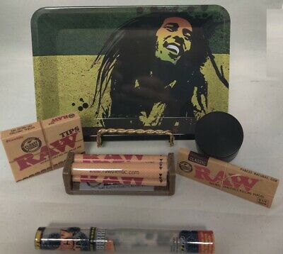 NEW Mini Marley Rolling Tray Bundle Raw Roller *Paper Tips Grinder *2 Doob Tube