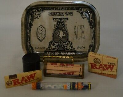 NEW Mini Ace Rolling Tray Bundle *Raw Roller *Paper *Tips *Grinder *2 Doob Tube