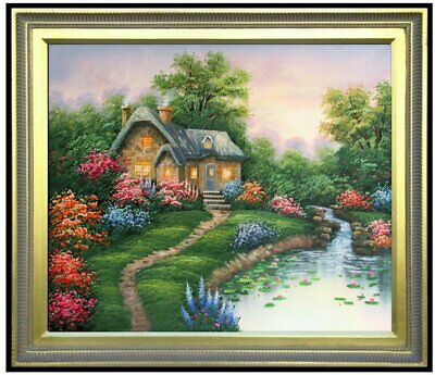 Framed Quality Hand Painted Oil Painting, Streamside Cottage, 20x24in
