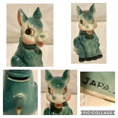 Vintage 1950's Mid Century Turquoise Ceramic Donkey Coin Bank Marked Japan