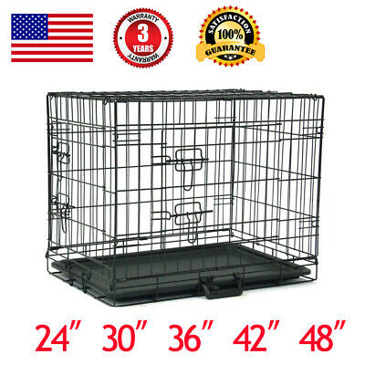 "Pet Kennel Cat Folding Crate Dog Wire Metal Cage W/Divider 48""/42""/36""/30""/24"""