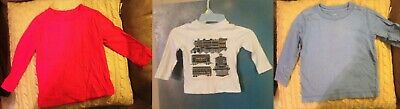 Lot of 3 tops 2t 2 red blue trains long sleeved solid color t shirts ls fall 24