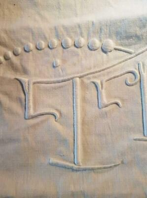Gorgeous Antique French Monogram Sheet Panel,Raised Dot Stitch & Initials T P