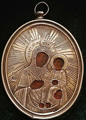 Antique 19C Russian 84 Silver Hand Painted Icon Iverskaya Mother Of Godpendant