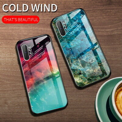 Glossy Gradient Glass Hard Back Case For Samsung Galaxy Note 10 Plus S10 A10 A70