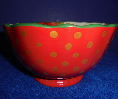 """Pioneer Woman Stoneware NEW Garland  footed 6.25"""" bowl red - gold dots & flowers"""