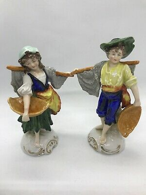 FAB! Antique Sitzendorf Dresden Original Matching Porcelain Figurine Set MINT!