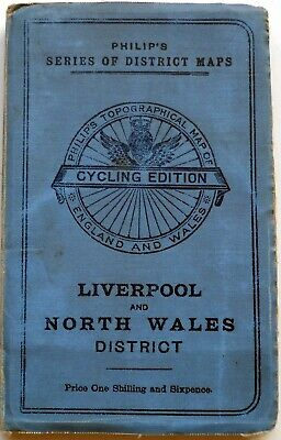 Map LIVERPOOL& NORTH WALES DISTRICT by Philips, Son & Nephew c.1900