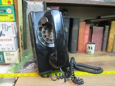Black Rotary Dial Wall Telephone Phone Itt Western Electric Bell Retro