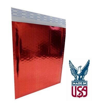 "Size #0 - 6.5""x 9"" Glamour Metallic RED  Bubble Mailer 500 QTY"