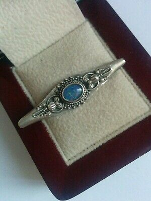 Beautiful Arts & Crafts Style 925 Silver & Opal Brooch.