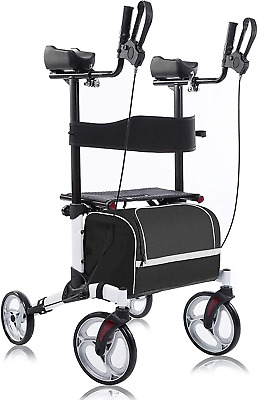 Upright Walker Stand Up Folding Rollator Walker with Paded Armrests for Seniors