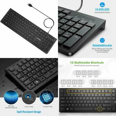 VICTSING GAMING KEYBOARD USB Wired Quiet All-Metal Panel