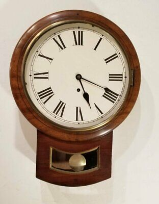 Antique 8 Day English Pub Clock Tavern Wall 12 Dial Short Drop Time Piece Works